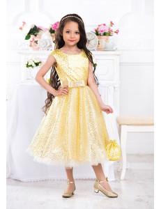 Платье нарядное с пайетками цвет золото Лолита
