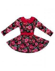 """Платье длинным рукавом синее с розами """"осенний блюз"""""""