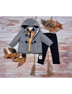 Комплект для мальчиков с серым пальто bebus из 3-х предметов