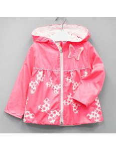 "Ветровка неоново-розового цвета для девочки ""Бабочки"""