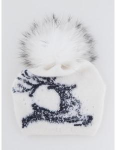 """Шапка  зимняя белого цвета  для девочек с помпоном """"Северный олень"""""""