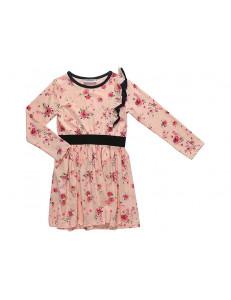 """Платье для девочек с длинным рукавом цвета пудры """"В саду"""""""