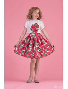 """Комплект для девочек с красными цветами (блуза и юбка) """"New Look"""""""